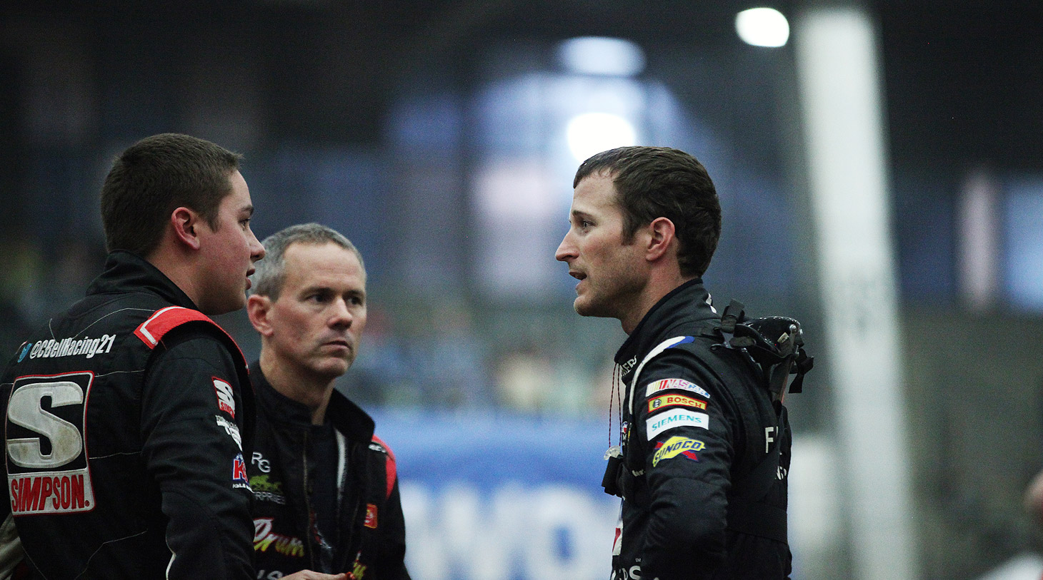 Christopher Bell, Jerry Coons Jr and Kasey Kahne infield at The 2016 Chili Bowl